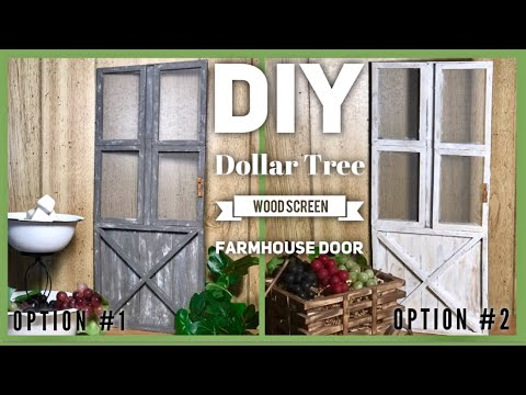 DIY Dollar Tree Wood Screen Farmhouse Door Decor - Rustic Room or Wall Decor - Simple, Cheap & Easy