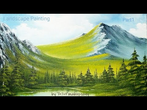 Landscape painting tutorial -Bob Ross oil painting 01- #mountain