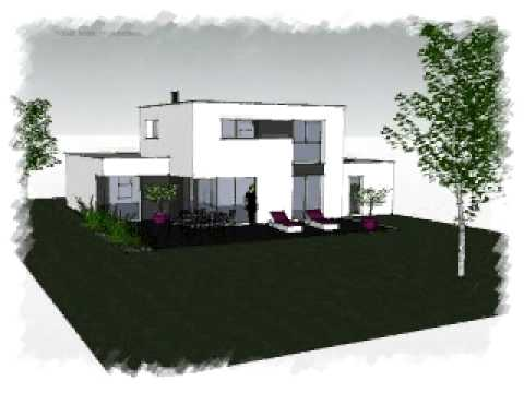 Arteco 283 maison contemporaine toit plat youtube for Maison moderne toit plat