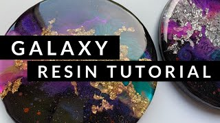 Galaxy Resin Coasters: Tutorial 3D galaxy effect, with planets and shimmer. Gold and Silver leaf