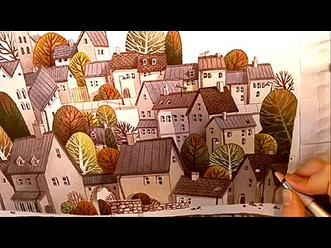"Watercolor Illustration ""village"" collaboration with pearfleur Painting by Iraville"