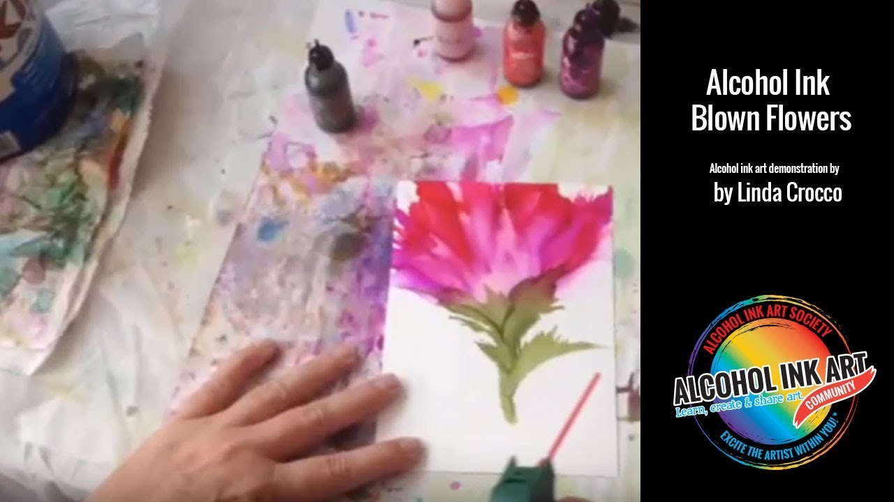 How To Paint With Alcohol Ink Blowing Flowers Demo Youtube