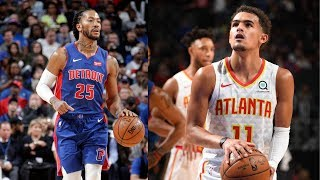 Derrick Rose (27 PTS) vs. Trae Young (38 PTS) Battle It Out In   Hawks vs. Pistons 2019-20