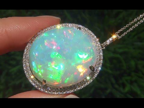 Estate 3431 carat natural ethiopian opal diamond 14k yellow gold estate 3431 carat natural ethiopian opal diamond 14k yellow gold pendant necklace c600 mozeypictures Gallery