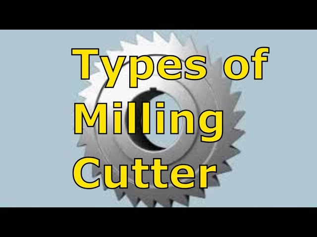 TYPES OF MILLING CUTTERS | Milling Machine Cutters