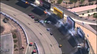 [HD] indycar 2011 horrific crash Las vegas Wheldon dead (slowmotion)