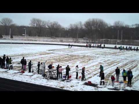 Sioux Falls Lincoln Marching Band Shovels Football Field in Two Minutes!!!