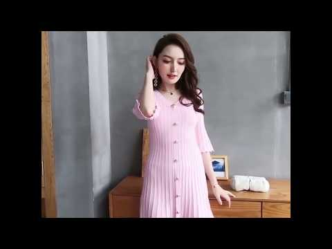 V NECK MID SLEEVE DRESS KF2853