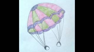 Рисуем парашют - Draw a parachute - 画一个降落伞