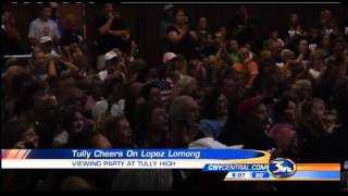 Fans gather at Tully High School to watch Lopez Lomong