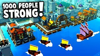 1000 PEOPLE COLONY!  Lake Town Castle (Kingdoms and Castles Gameplay)