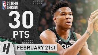 Giannis Antetokounmpo Full Highlights Bucks vs Celtics 2019.02.21 - 30 Pts, 13 Reb, 6 Assists