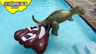 T-REX Giant Poop in Swimming Pool - Inflatable Dinosaur toys and animals kids playtime