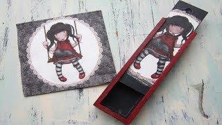 Caja de madera portalápices decorada con muñeca Gorjuss