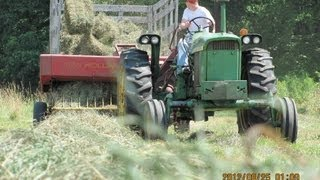 Baling Second Crop Hay 2012 With A John Deere 3020 Diesel