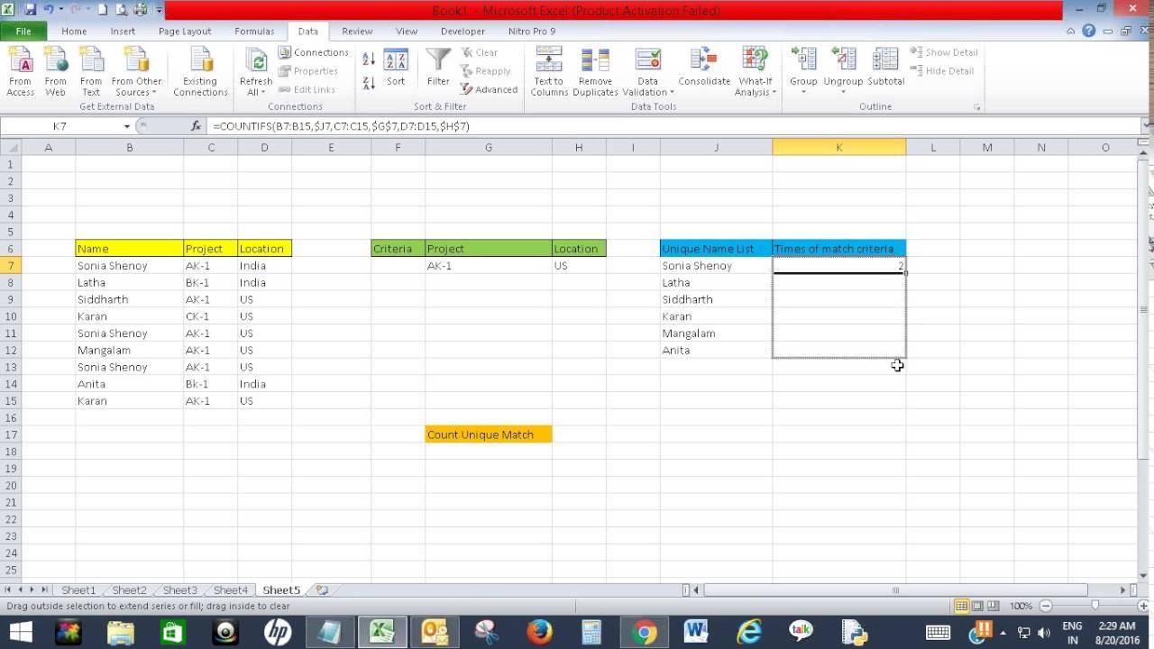 Count unique values with multiple criteria in Excel