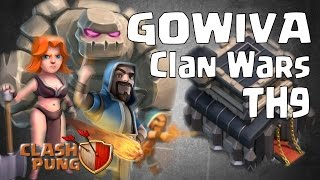 3 Stars Clan Wars GoWiVa Attack TH9 Clash of Clans