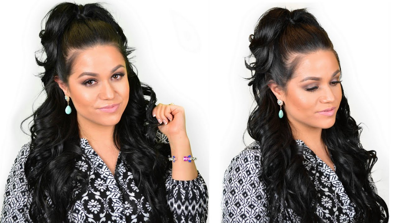 khloe kardashian half-up high ponytail hairstyle using clip-in