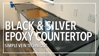 Black & Silver Metallic Epoxy Countertop | Simple Vein Technique