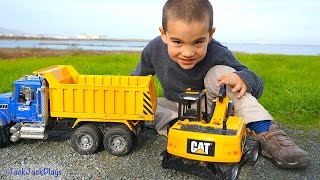 Toy Construction Trucks Working at Airport: Backhoe, Dump Truck, Excavator, Planes