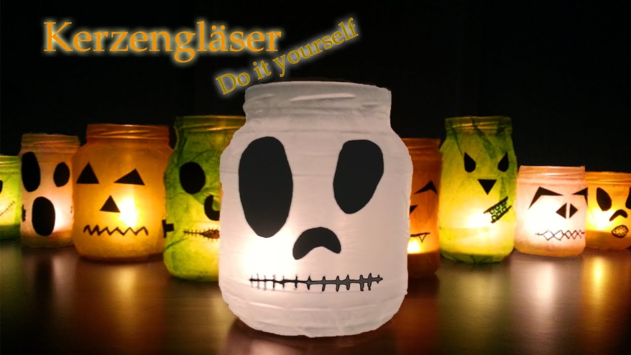 Kerzengl ser diy halloween party deko selber machen for Halloween basteln dekoration