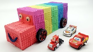 Learn Colors Rainbow Bus Cars VS Kinetic Sand Lego Numbers Surprise Toys How To Make For Kids