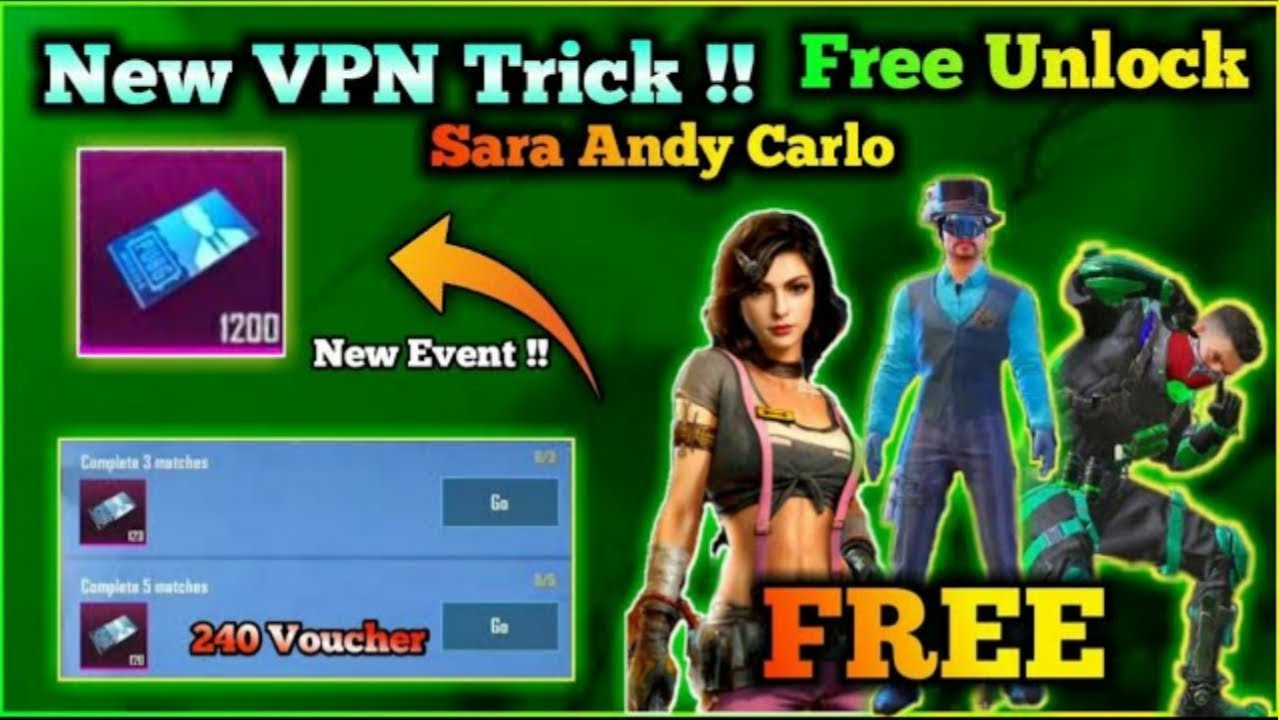 How To Unlock Andy And Carlo Character For Free Pubg Mobile | 1200 Free Character Voucher 2020 Trick