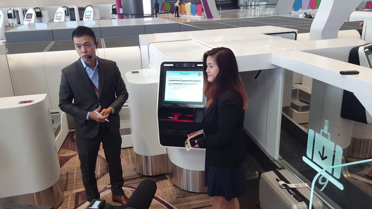 91ea50d73c Changi Airport Terminal 4 Self Baggage Drop Demonstration - YouTube