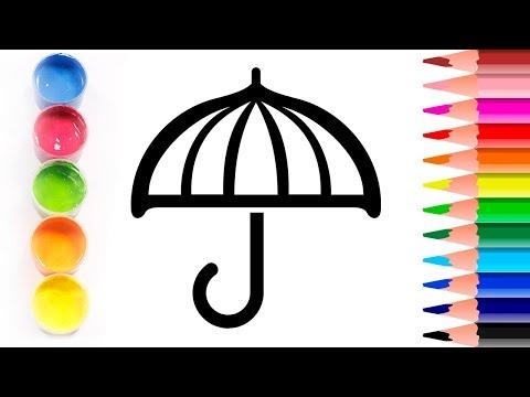 Glitter ✨Dibujamos un PARAGUAS ☔ Dibuja y colorea 💫 Coloring and Drawing