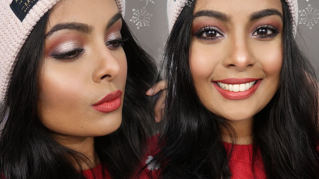 How To Apply Eyeshadow + How To Use Eye Makeup Brushes  Sparkly Eyes &  Metallic Red Lips