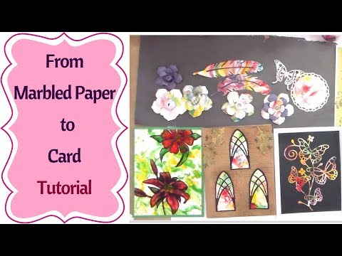 Turn Marbled Paper into a Card  : step by step