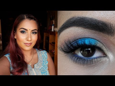 Blue and Gold Diwali Makeup || South African Youtuber
