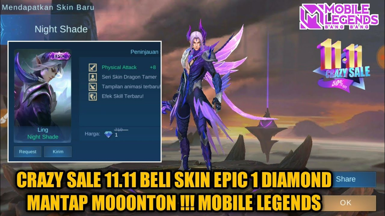 Crazy Sale 11 11 Auto Buy Skin Epic Modal 1 Diamond Mantap Mooontong Mobile Legends Youtube
