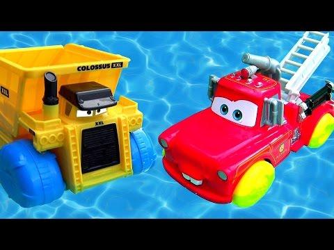 Disney Cars Rescue Squad Mater Hydro Wheels vs. Colossus Dump Truck Hydro Wheels Pool Bathtub Toys