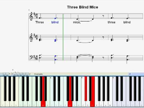 Kids Song And Nursery Rhyme Three Blind Mice Piano Instrumental With Sheet Music