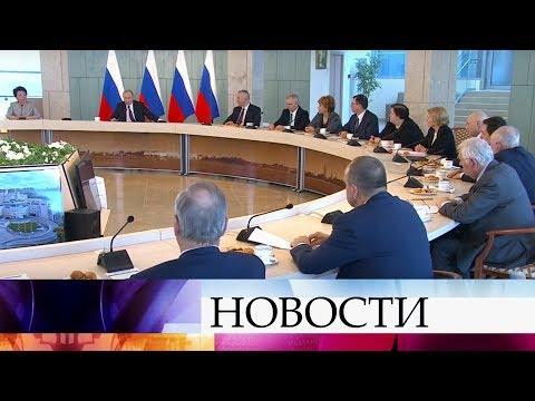 Смотреть Владимир Путин в Санкт-Петербурге посетил НМИЦ имени В.А.Алмазова. онлайн