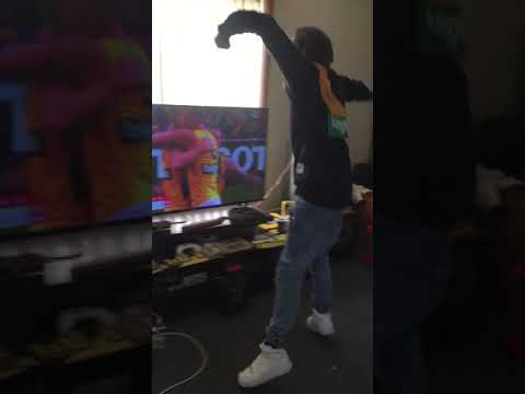 Grand final Richmond fan falls through tv