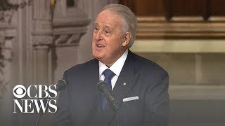 Former Canadian Prime Minister Brian Mulroney delivers eulogy at Bush's funeral