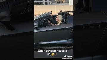 Supercar Blondie drives with Batman in Lamborghini SVJ Roadster