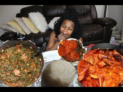 #4 NIGERIAN/AFRICAN FOOD [MUKBANG]: VEGETABLE SOUP WITH EBA AND CHICKEN AND SMOKED TURKEY STEW