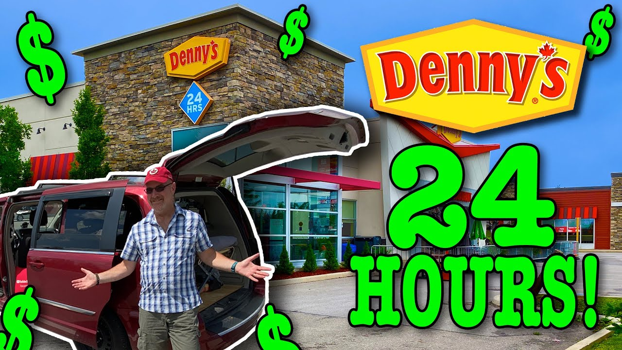 Living at Denny's for 24 Hours 🧇🥞 Stealth Camping #vanlife