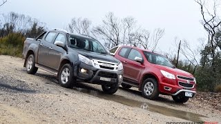 2015 Holden Colorado vs Isuzu D-Max comparison: off road, engine sound, 0-100km/h