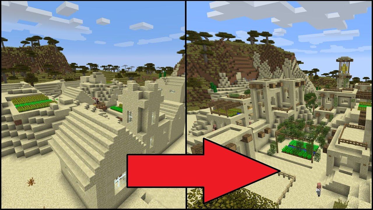 House Upgrades Let S Transform A Minecraft Desert Village Youtube
