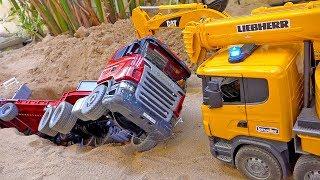 덤프트럭 자동차 장난감 구출놀이 포크레인 중장비 놀이 Dump Truck Car Toy with Excavator