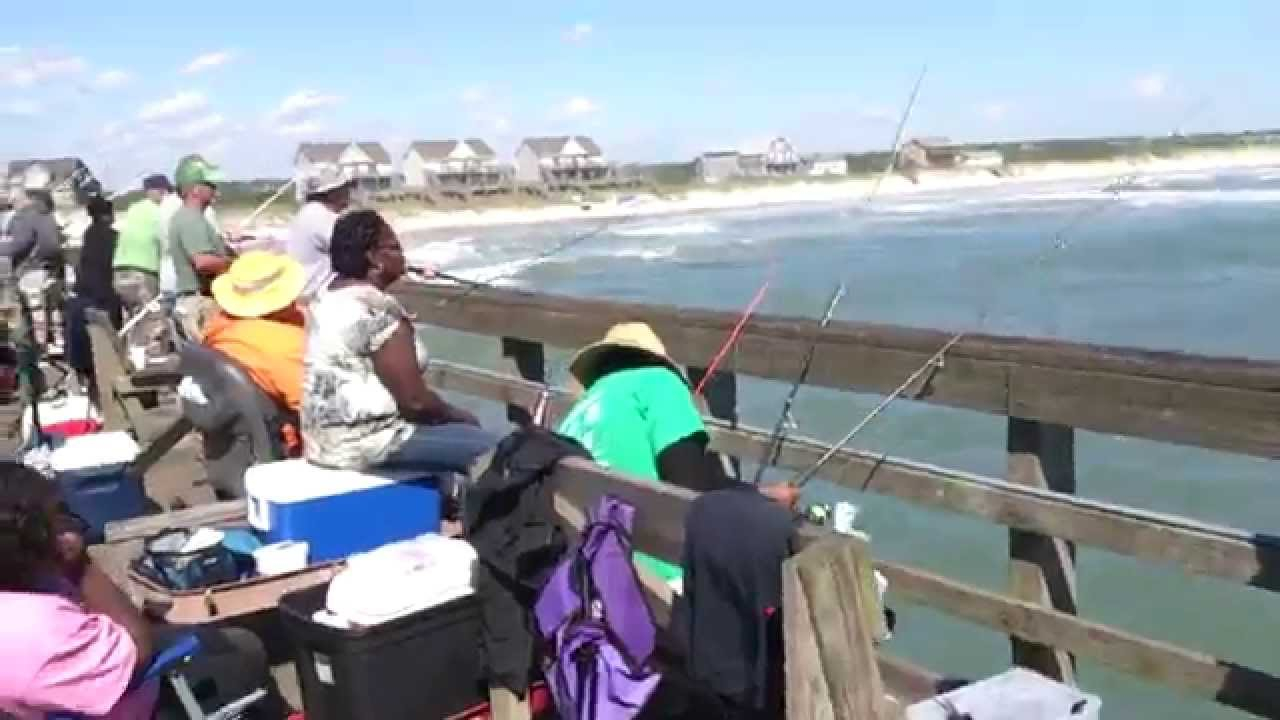 10 16 14 spot biting off seaview fishing pier youtube for Seaview fishing pier