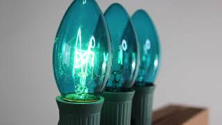 Teal C9 Twinkle Bulbs   Incandescent
