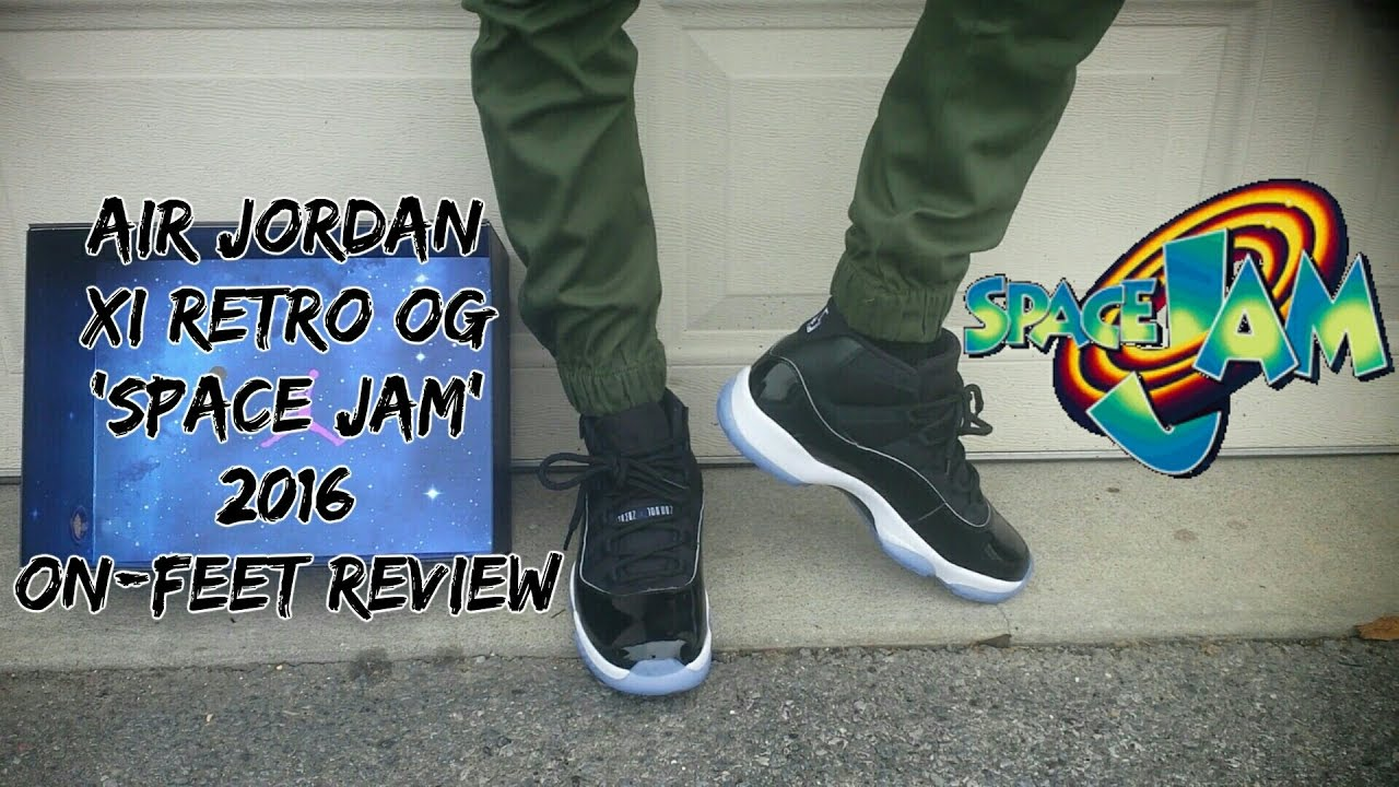860a6a4bb032 Air Jordan 11 Space Jam (2016) On Feet Review - YouTube
