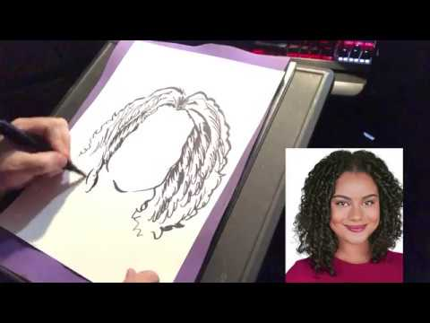 HOW TO DRAW QUICK CARICATURE  HAIR DEMO-By Eric Melton