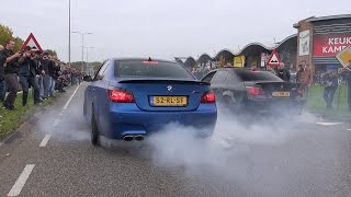 2x BMW M5 E60 V10 w/ Eisenmann Race Exhaust - INSANE BURNOUT!!