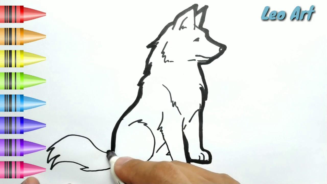 HEBAT Cara Menggambar Dan Mewarnai ANJING SRIGALA Dengan